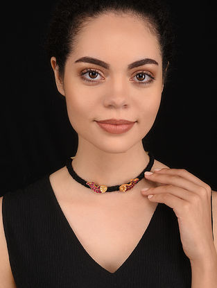 Maroon Gold Tone Handcrafted Silver Necklace