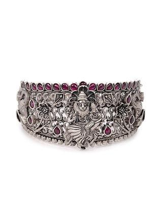 Maroon Tribal Silver Hinged Bangle (Bangle Size: 2/6)