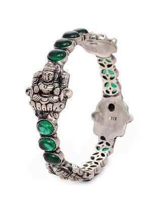 Green Tribal Silver Bangle (Bangle Size: 2/2)