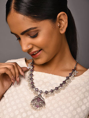 Maroon Green Tribal Silver Necklace with Pearls