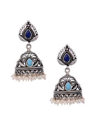 Blue Turquoise Tribal Silver Jhumki Earrings with Pearls