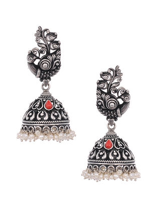 Coral Tribal Silver Jhumki Earrings with Pearls