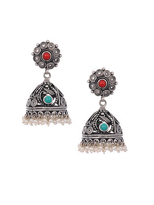 Turquoise and Coral Tribal Silver Jhumki Earrings with Pearls