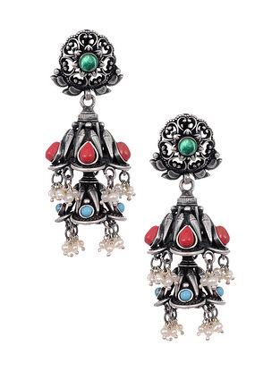 Multicolored Tribal Silver Jhumki Earrings