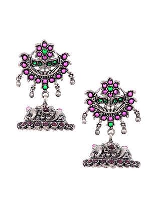 Maroon Green Tribal Silver Jhumki Earrings