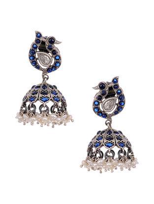 Blue Tribal Silver Jhumki Earrings with Pearls