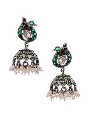 Green Tribal Silver Jhumki Earrings with Pearls
