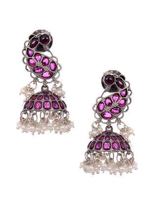 Maroon Tribal Silver Jhumki Earrings with Pearls