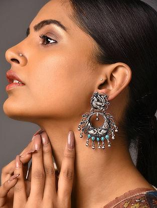 Maroon Turquoise Tribal Silver Earrings