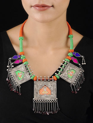 Multicolored Silver Necklace with Deity Motif