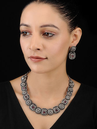 Pink Tribal Silver Necklace with Earrings (Set of 2)