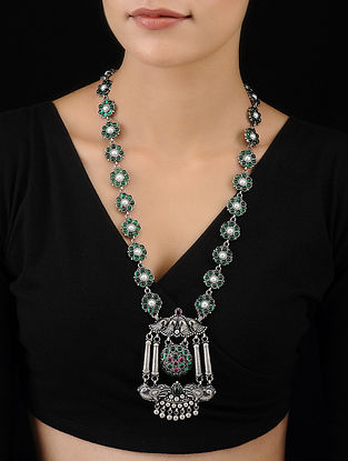 Green Pink Tribal Silver Necklace with Peacock Motif