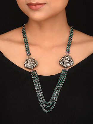Green Pink Tribal Silver Necklace with Deity Motif
