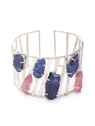 Blue Pink Tribal Silver Cuff