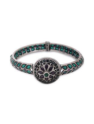 Green Pink Tribal Silver Hinged Opening Bangle (Bangle Size: 2/8)