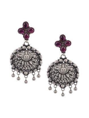 Pink Tribal Silver Earrings with Deity Motif