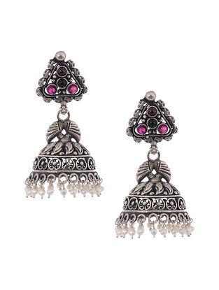 Pink Tribal Silver Jhumki Earrings with Pearls