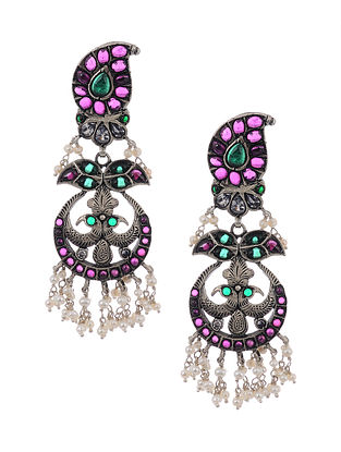Pink Green Tribal Silver Earrings with Pearls