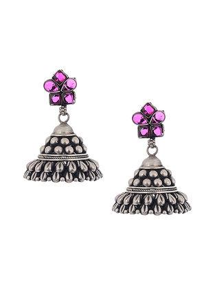 Pink Tribal Silver Jhumki Earrings