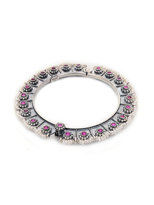 Pink Hinged Opening Tribal Silver Bangle with Pearls (Bangle Size -2/4)