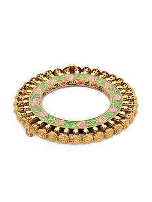 Green-Pink Enameled Hinged Opening Gold-plated Silver Bangle (Bangle Size -2/4)