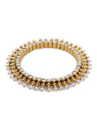 Gold-plated Silver Bangle with Pearls (Bangle Size -2/8)