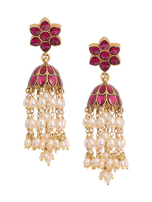 Pink Gold Tone Silver Jhumkis with Fresh Water Pearls