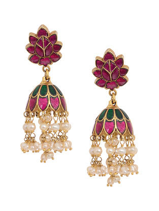 Pink-Green Gold Tone Silver Jhumkis with Fresh Water Pearls