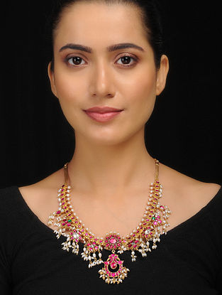 Pink-Green Gold Tone Silver Necklace with Fresh Water Pearls
