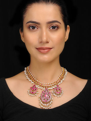 Pink Gold Tone Silver Necklace with Fresh Water Pearls