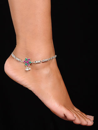 Pink-Green Silver Anklets (Set of 2)