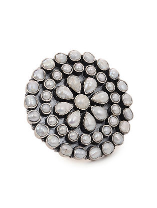 Pearl Adjustable Silver Ring
