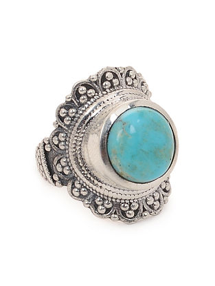 Turquoise Silver Ring (Ring Size -7.5)