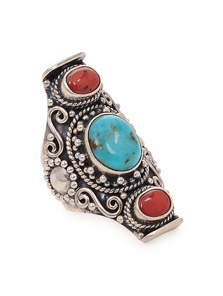 Turquoise and Coral Silver Ring (Ring Size -7.6)