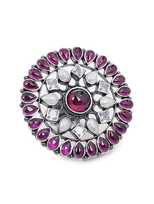 Pink Adjustable Silver Ring with Pearls