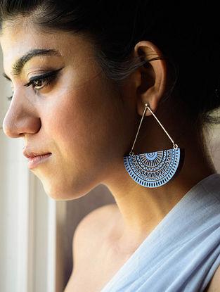 Blue-Brown Teakwood Earrings