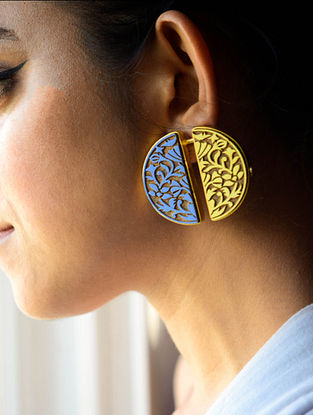 Blue-Yellow Gold Plated Brass and Teakwood Stud Earrings