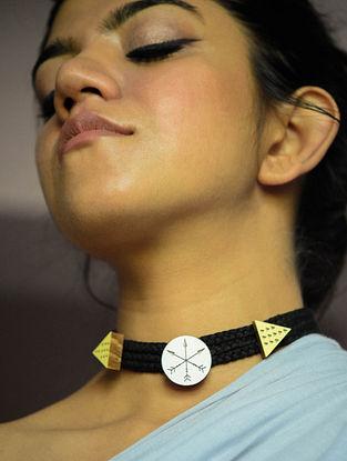 Yellow Gold Plated Brass and Teakwood Choker Necklace
