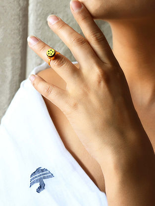 Yellow Gold Plated Brass and Teakwood Adjustable Ring