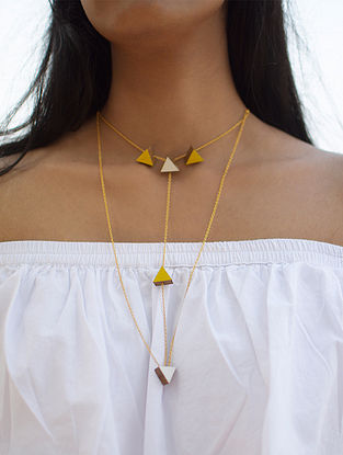 Yellow-Ivory Gold Plated Brass and Teakwood Necklace