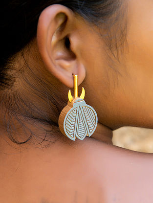 Teak Wood and Gold Plated Brass Tribal Earrings