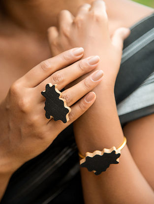 Teak Wood and Gold Plated Brass Tribal Adjustable Ring
