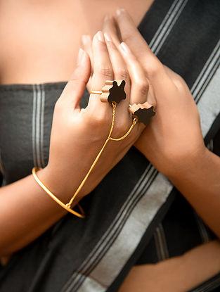 Teak Wood and Brass Tribal Hand Harness