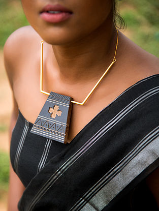 Teak Wood and Brass Tribal Necklace