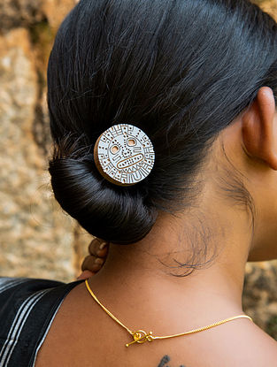 Teak Wood and Brass Tribal Hair Pin
