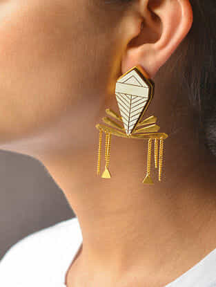 Ivory Gold-plated Brass Earrings