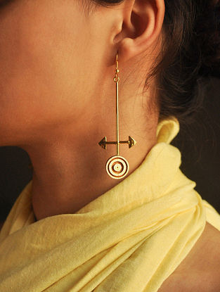 Ivory-Brown Wood and Gold-plated Brass Earrings