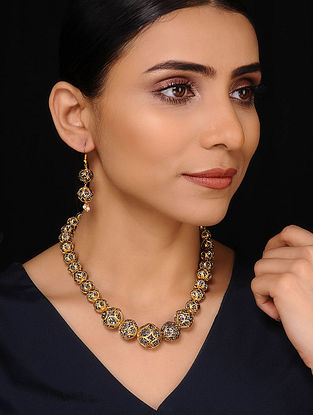Mercasite Gold Tone Handcrafted Necklace with Earrings (Set of 2)