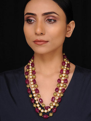 Red White Gold Tone Handcrafted Necklace with Pearls