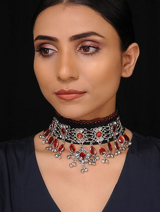 Red Black Silver Tone Tribal Necklace